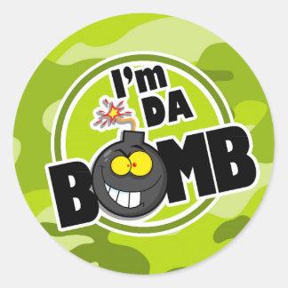 Bomba da Dinamarca camo verde-claro camuflagem Adesivos Redondos