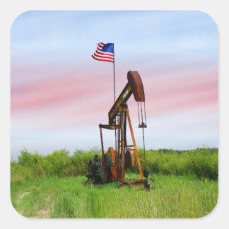 Bomba de óleo com bandeira americana adesivo quadrado