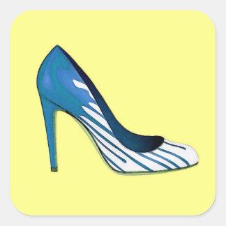 Bomba do estilete, azul no amarelo adesivo quadrado