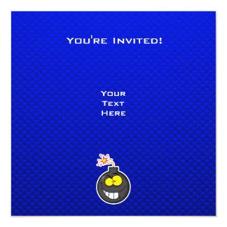 Bomba dos desenhos animados; Azul Convite Quadrado 13.35 X 13.35cm