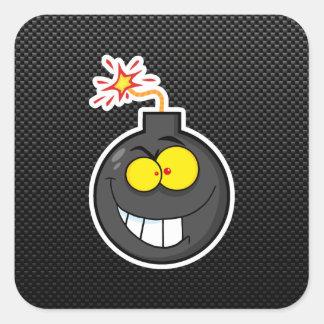 Bomba dos desenhos animados; Lustroso Adesivo Quadrado
