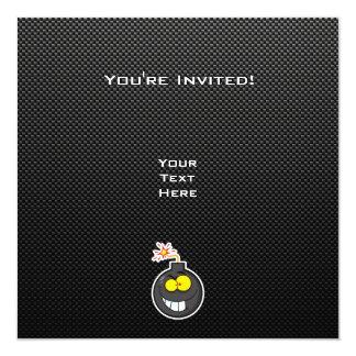 Bomba dos desenhos animados; Lustroso Convite Quadrado 13.35 X 13.35cm