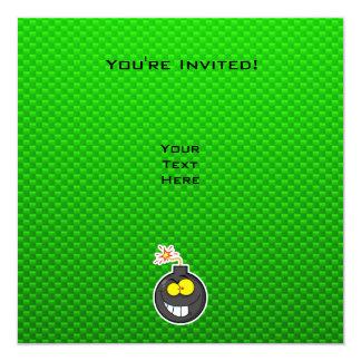 Bomba dos desenhos animados; Verde Convite Quadrado 13.35 X 13.35cm