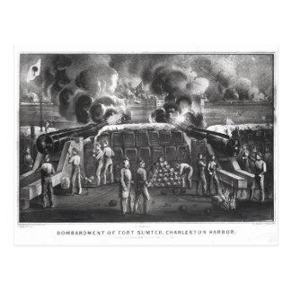 Bombardeio do forte Sumter, porto de Charleston Cartão Postal