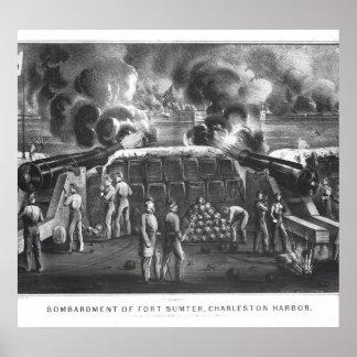 Bombardeio do forte Sumter, porto de Charleston Posteres