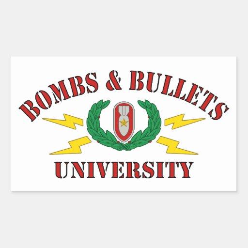 Bombas & universidade das balas adesivo retangular