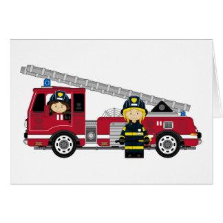 Bombeiro bonito e viatura de incêndio dos desenhos cartão comemorativo