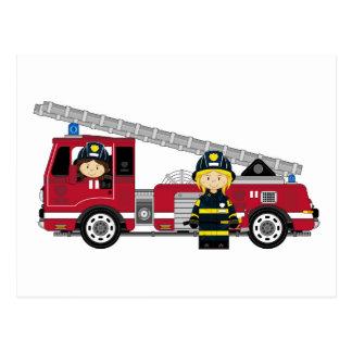 Bombeiro bonito e viatura de incêndio dos desenhos cartão postal