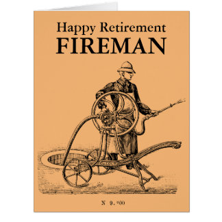 Bombeiro feliz L cartão da aposentadoria do