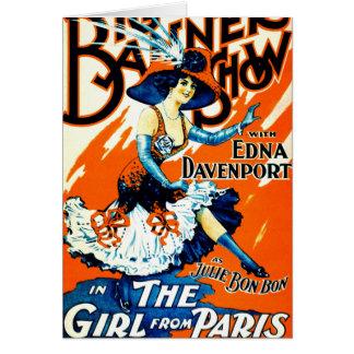 Bombom de Julie a menina de Paris 1910 Cartão Comemorativo