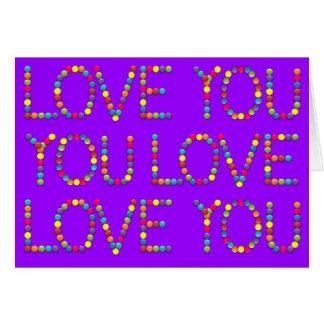 Bombom é toda sobre o amor - eu te amo cartão comemorativo