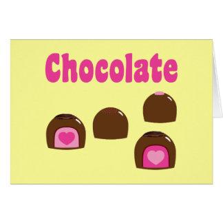 Bombons do coração do chocolate cartão comemorativo