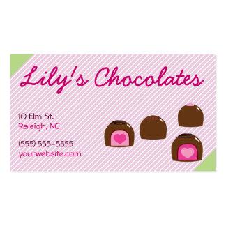 Bombons do coração do chocolate cartão de visita