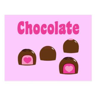 Bombons do coração do chocolate cartão postal