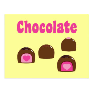 Bombons do coração do chocolate cartões postais