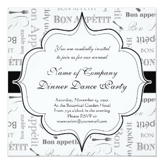 Bon francês Appetit do vintage preto e branco Convite Quadrado 13.35 X 13.35cm