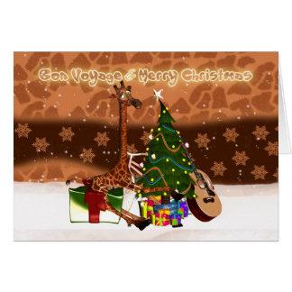 Bon voyage & girafa do feriado do Feliz Natal Cartão Comemorativo