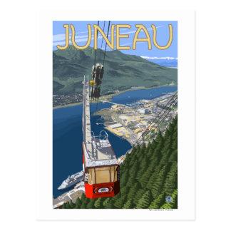 Bonde sobre poster das viagens vintage de Juneau, Cartão Postal