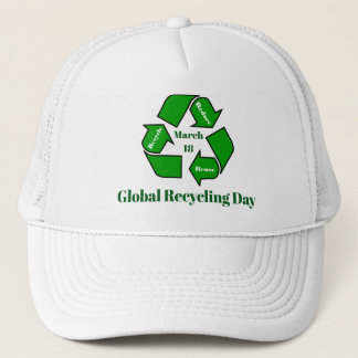 Boné 18 de março, design global do dia do reciclagem