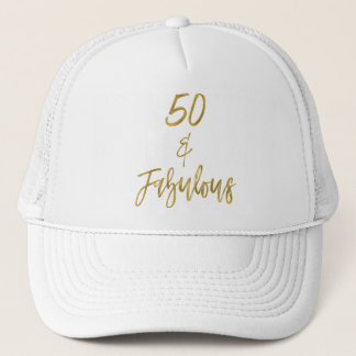 Boné 50th Folha de ouro do aniversário e chapéu branco