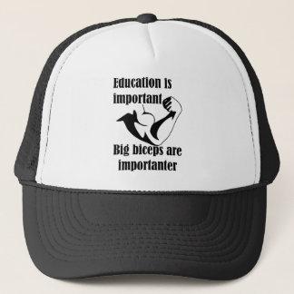 Boné A educação é bíceps grande importante é