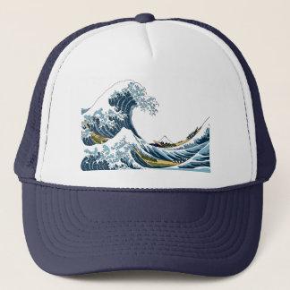 Boné A grande onda de Hokusai fora de Kanagawa