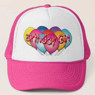 Boné A menina do aniversário Balloons o chapéu