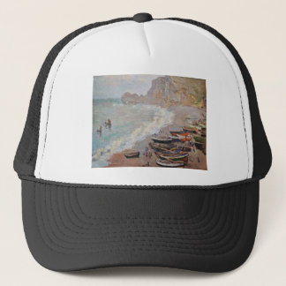 Boné A praia em Etretat - Claude Monet