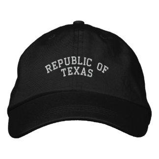 Boné A república de Texas bordou o preto ajustável do