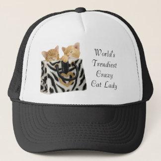 Boné A senhora louca a mais na moda Chapéu do gato do