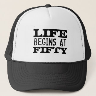 Boné A vida começa no 50th chapéu engraçado do