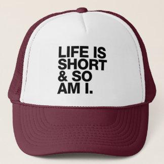 Boné A vida é curta & assim que é mim citações