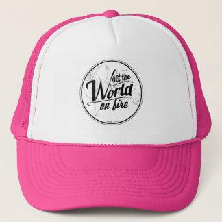 Boné Ajuste o mundo no chapéu do camionista do fogo