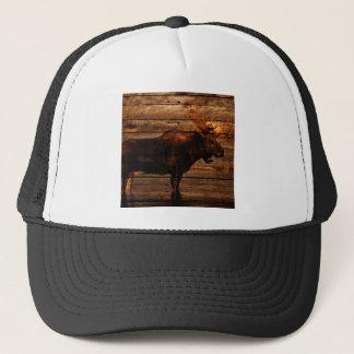 Boné alces de madeira afligidos outdoorsman do touro