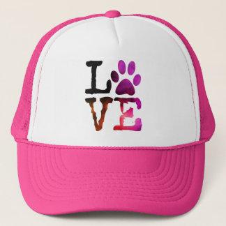 Boné Amor, chapéu do rosa do impressão da pata do cão
