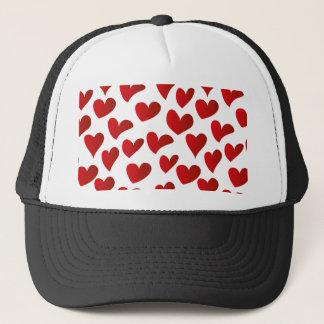 Boné Amor vermelho pintado teste padrão do coração da