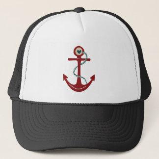Boné Âncora vermelha do navio com coração
