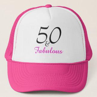 Boné Aniversário do rosa moderno um 50th