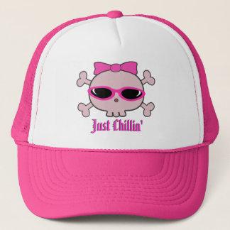 Boné Apenas crânio cor-de-rosa dos desenhos animados de