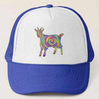 Boné Arte animal espiral colorida da cabra psicadélico
