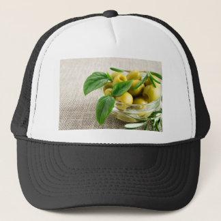 Boné Azeitonas Pitted com folhas e rosemary verdes