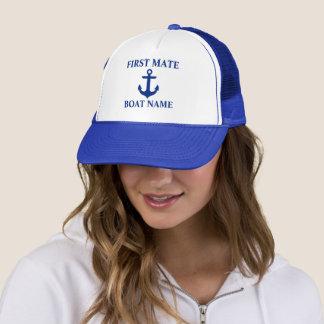 Boné Azul náutico da âncora do nome do barco do