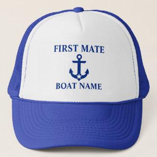 Boné Azul náutico da estrela da âncora do nome do barco