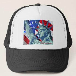 Boné Bandeira americana e estátua da liberdade