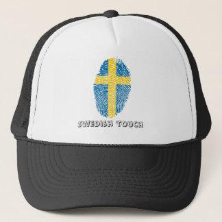 Boné Bandeira da impressão digital do toque do sueco