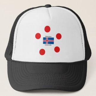 Boné Bandeira de Islândia e design islandês da língua