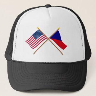 Boné Bandeiras cruzadas dos E.U. e da república checa