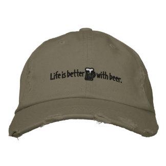 Boné Bordado A vida é melhor com o chapéu de tipo de tela de