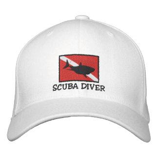 Boné bordado bandeira do tubarão do mergulhador de