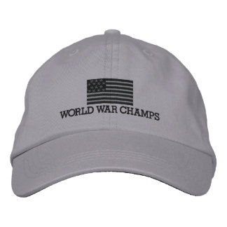 Boné Bordado Campeões da guerra mundial - cinzentos e bandeira